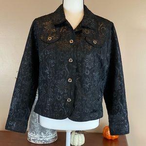 Ruby Rd Black Metallic Floral Pattern Size 16 P